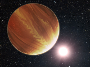 "This is an artistic illustration of the gas giant planet HD 209458b (unofficially named Osiris) located 150 light-years away in the constellation Pegasus. This is a ""hot Jupiter"" class planet. Estimated to be 220 times the mass of Earth. The planet's atmosphere is a seething 1,800 degrees Fahrenheit. It orbits very closely to its bright sunlike star, and the orbit is tilted edge-on to Earth. This makes the planet an ideal candidate for the Hubble Space Telescope to be used to make precise measurements of the chemical composition of the giant's atmosphere as starlight filters though it. To the surprise of astronomers, they have found much less water vapor in the atmosphere than standard planet-formation models predict. Credit: NASA, ESA and G. Bacon (STScI). (Click image to download hi-res version.)"