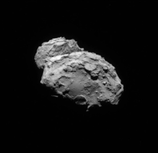 A camera aboard the comet-orbiting spacecraft Rosetta took this photo of comet 67P/Churyumov-Gerasimenko, known as C-G, from a distance of about 79 kilometers, or 49 miles, on Aug. 19, 2014. Credit: ESA/Rosetta/NAVCAM